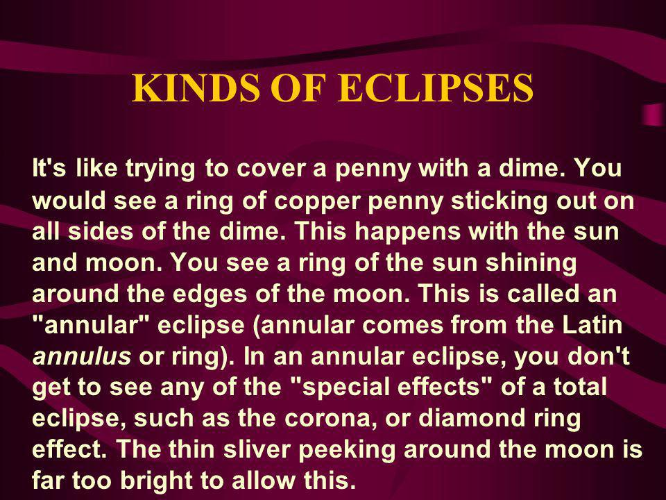 KINDS OF ECLIPSES It's like trying to cover a penny with a dime. You would see a ring of copper penny sticking out on all sides of the dime. This happ