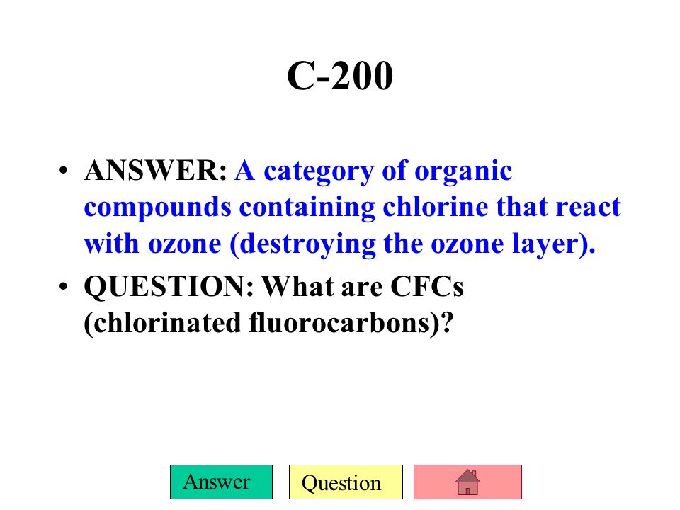 Question Answer C-100 ANSWER: The bad type occurs as a pollutant in the troposphere, the good type is at the top of the stratosphere. QUESTION: Where