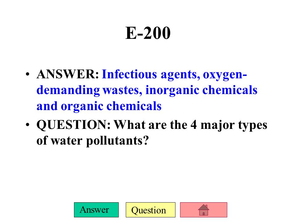 Question Answer E-100 ANSWER: Excess nitrogen and phosphorus in water cause this. QUESTION: What causes eutrophication?