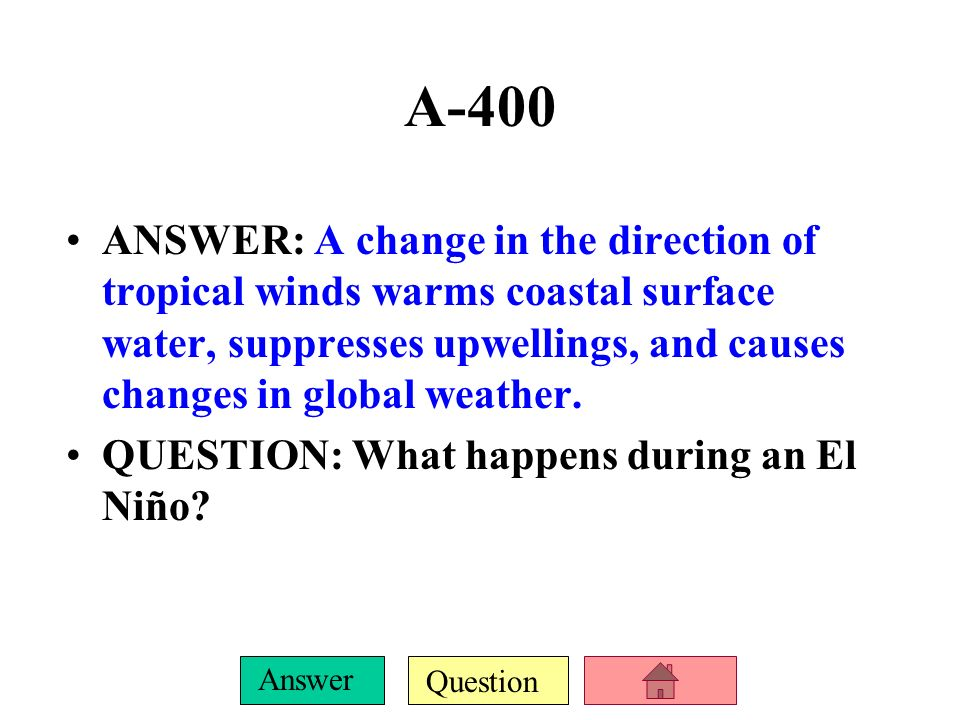 Question Answer A-300 ANSWER: The boundary between 2 air masses, where the most dramatic weather changes occur. QUESTION: What is a weather front?