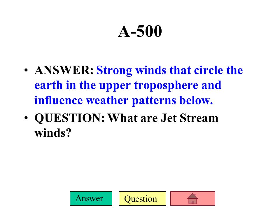 Question Answer A-400 ANSWER: A change in the direction of tropical winds warms coastal surface water, suppresses upwellings, and causes changes in gl