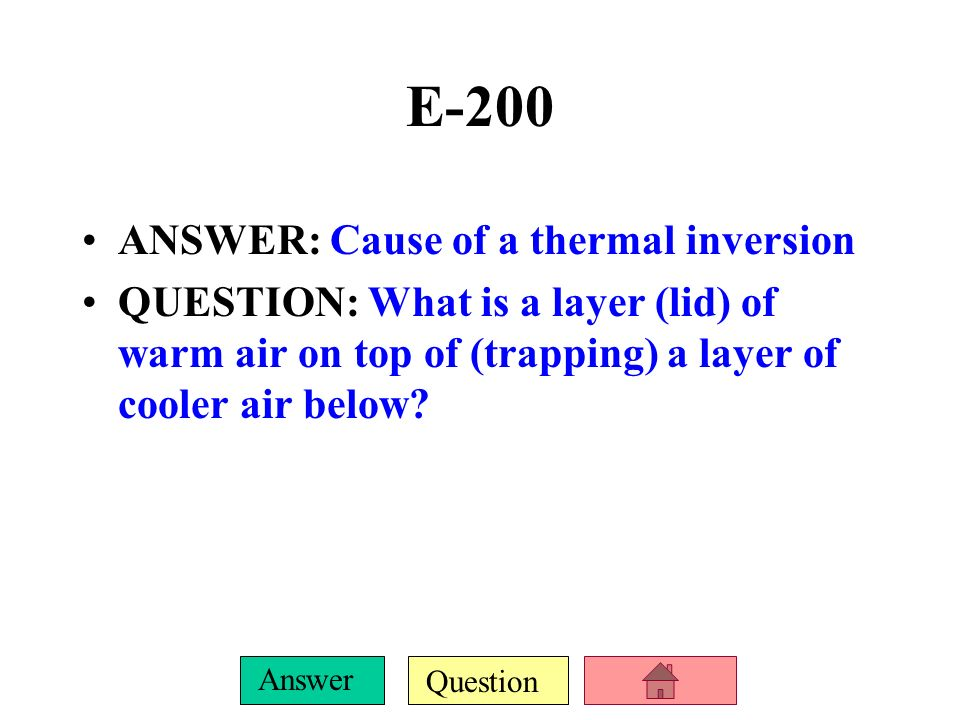 Question Answer E-100 ANSWER: It forms when NOx and VOCs react with sunlight QUESTION: What is smog?