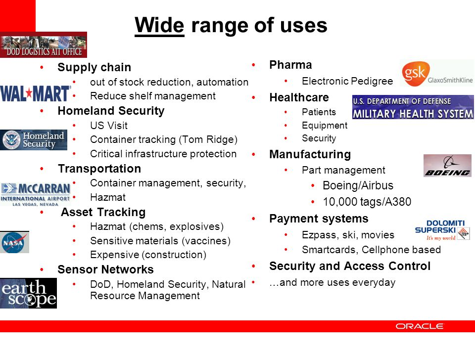 Wide range of uses Supply chain out of stock reduction, automation Reduce shelf management Homeland Security US Visit Container tracking (Tom Ridge) C