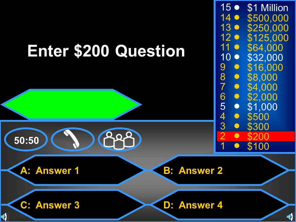 A: Answer 1 C: Answer 3 B: Answer 2 D: Answer 4 50:50 15 14 13 12 11 10 9 8 7 6 5 4 3 2 1 $1 Million $500,000 $250,000 $125,000 $64,000 $32,000 $16,000 $8,000 $4,000 $2,000 $1,000 $500 $300 $200 $100 Enter $4,000 Question