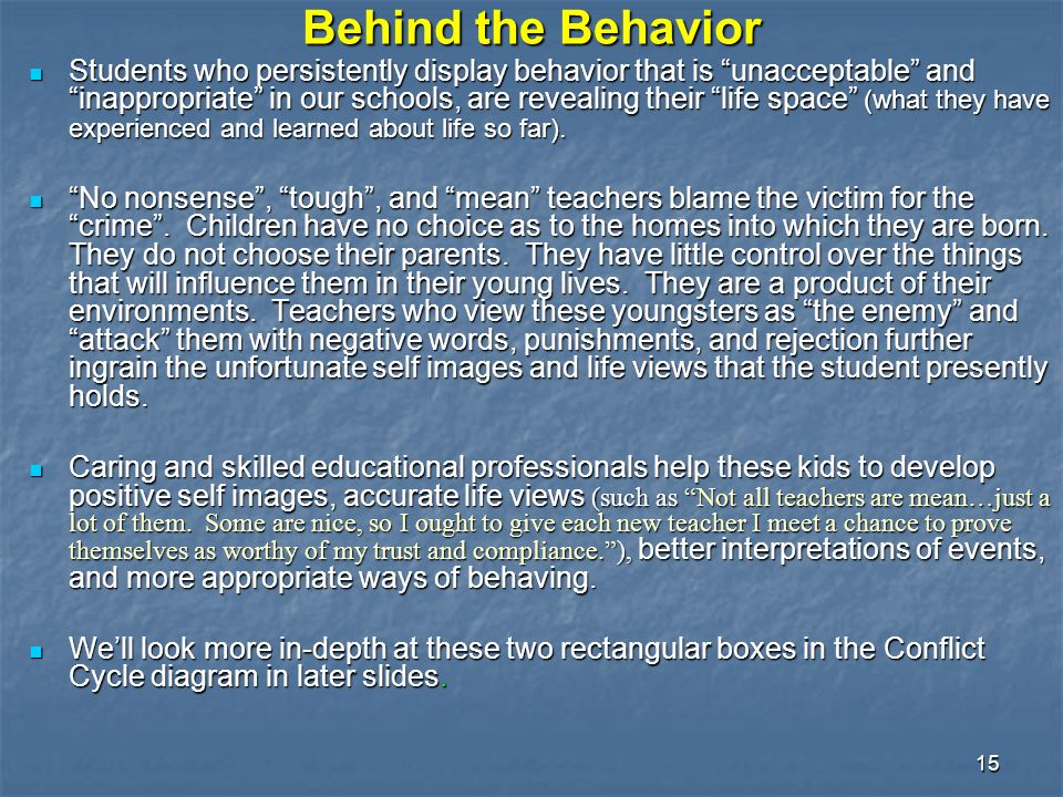 15 Behind the Behavior Students who persistently display behavior that is unacceptable and inappropriate in our schools, are revealing their life space (what they have experienced and learned about life so far).