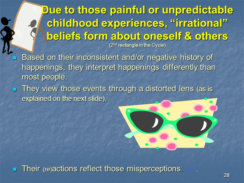 28 Due to those painful or unpredictable childhood experiences, irrational beliefs form about oneself & others (2 nd rectangle in the Cycle) Based on their inconsistent and/or negative history of happenings, they interpret happenings differently than most people.