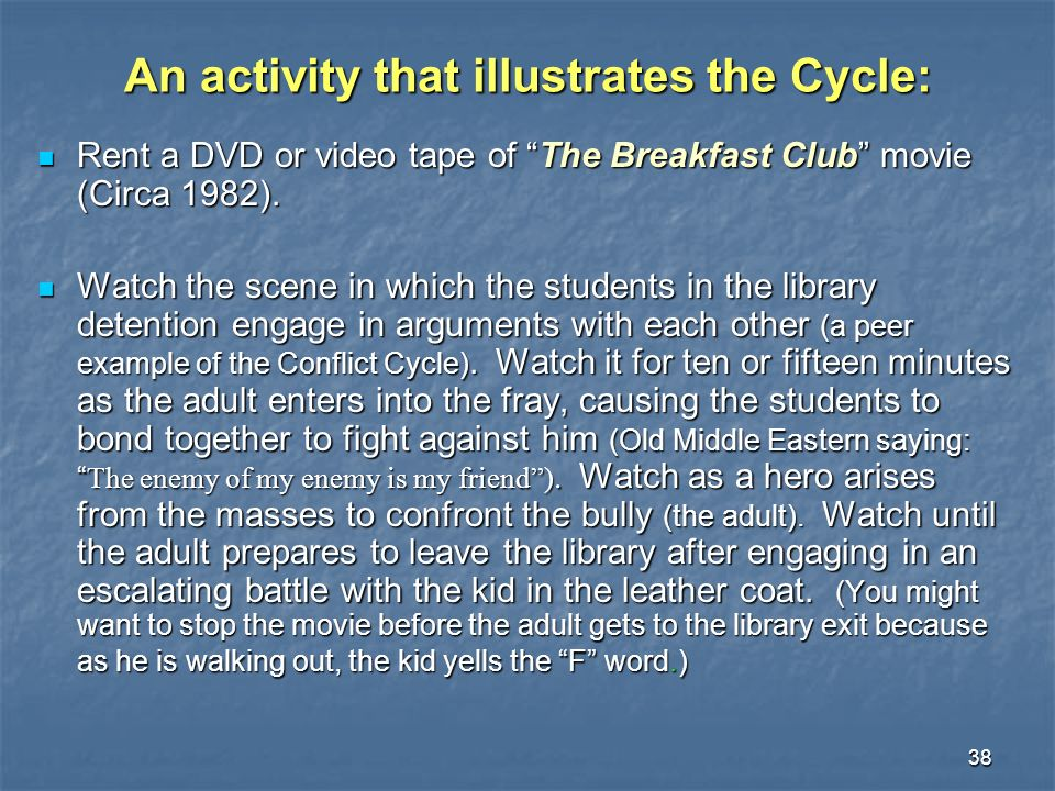 38 An activity that illustrates the Cycle: Rent a DVD or video tape of The Breakfast Club movie (Circa 1982). Rent a DVD or video tape of The Breakfas