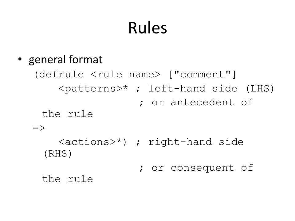Rules general format (defrule [