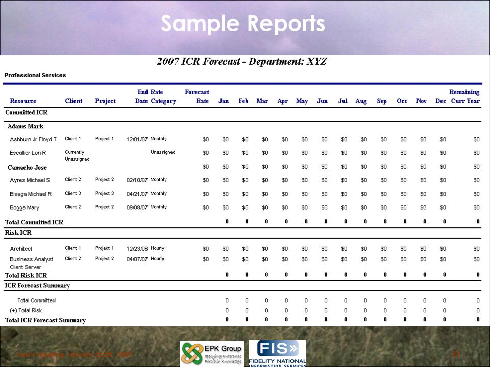 Sample Reports Users Meeting January 23-25, 2007 21
