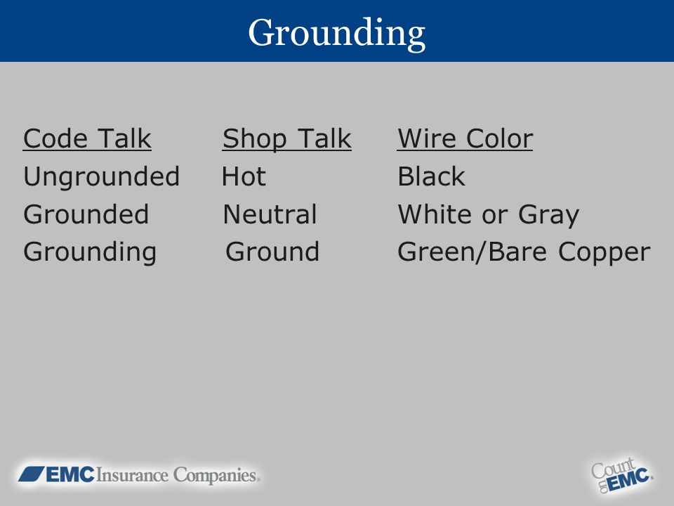 Grounding Code Talk Shop Talk Wire Color Ungrounded Hot Black Grounded Neutral White or Gray Grounding Ground Green/Bare Copper