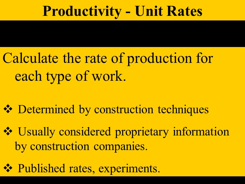 Productivity - Unit Rates Calculate the rate of production for each type of work.