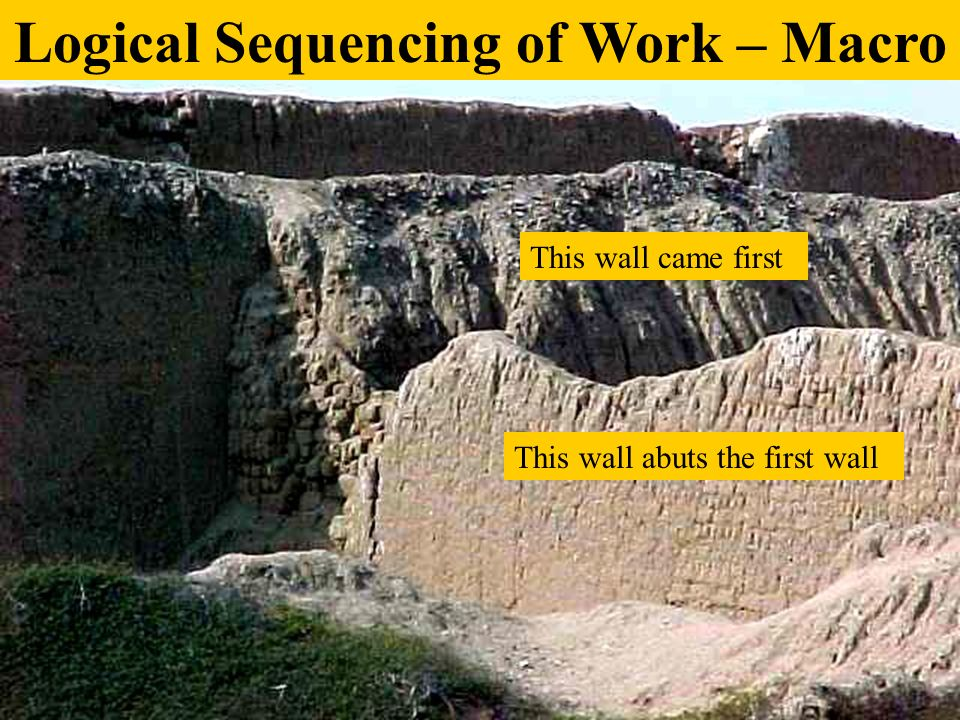 This wall came first This wall abuts the first wall Logical Sequencing of Work – Macro
