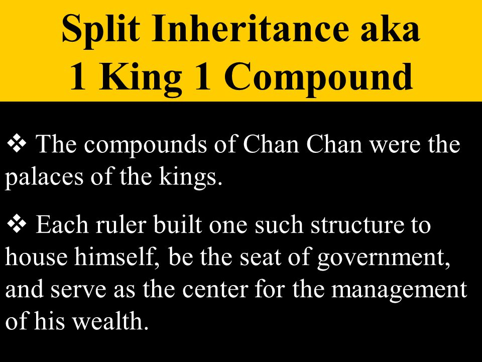 The compounds of Chan Chan were the palaces of the kings. Each ruler built one such structure to house himself, be the seat of government, and serve a