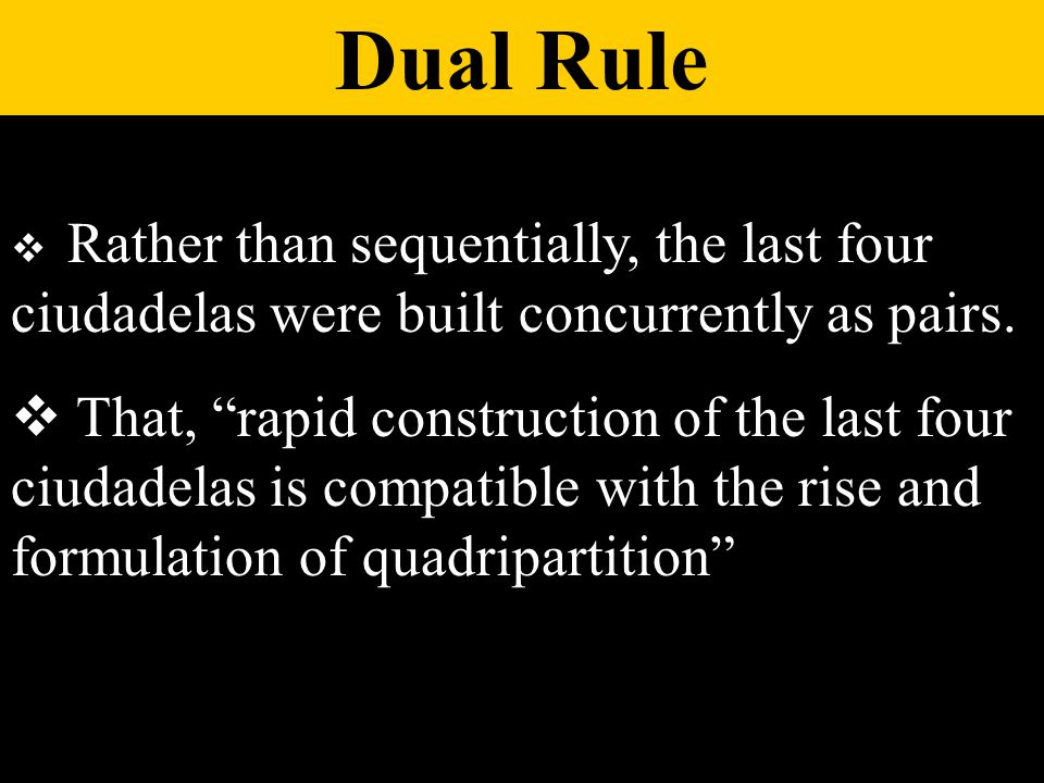 Rather than sequentially, the last four ciudadelas were built concurrently as pairs. That, rapid construction of the last four ciudadelas is compatibl