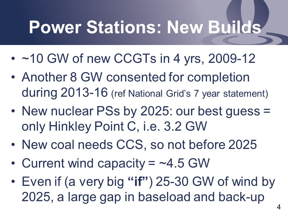 Power Stations: New Builds ~10 GW of new CCGTs in 4 yrs, 2009-12 Another 8 GW consented for completion during 2013-16 (ref National Grids 7 year statement) New nuclear PSs by 2025: our best guess = only Hinkley Point C, i.e.