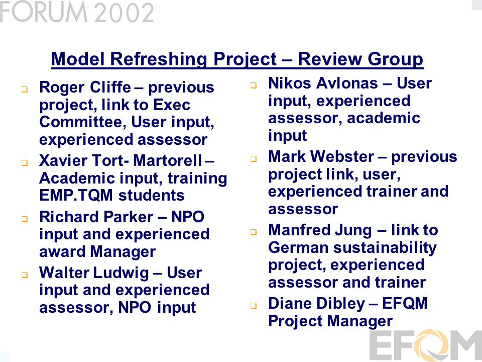 Model Refreshing Review THEMES FOR UPDATES