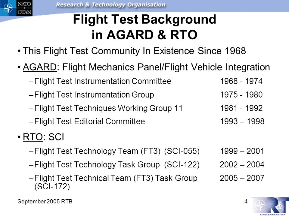 September 2005 RTB 4 Flight Test Background in AGARD & RTO This Flight Test Community In Existence Since 1968 AGARD: Flight Mechanics Panel/Flight Veh