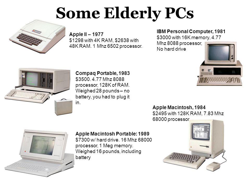 Some Elderly PCs Compaq Portable, 1983 $3500.4.77 Mhz 8088 processor, 128K of RAM.