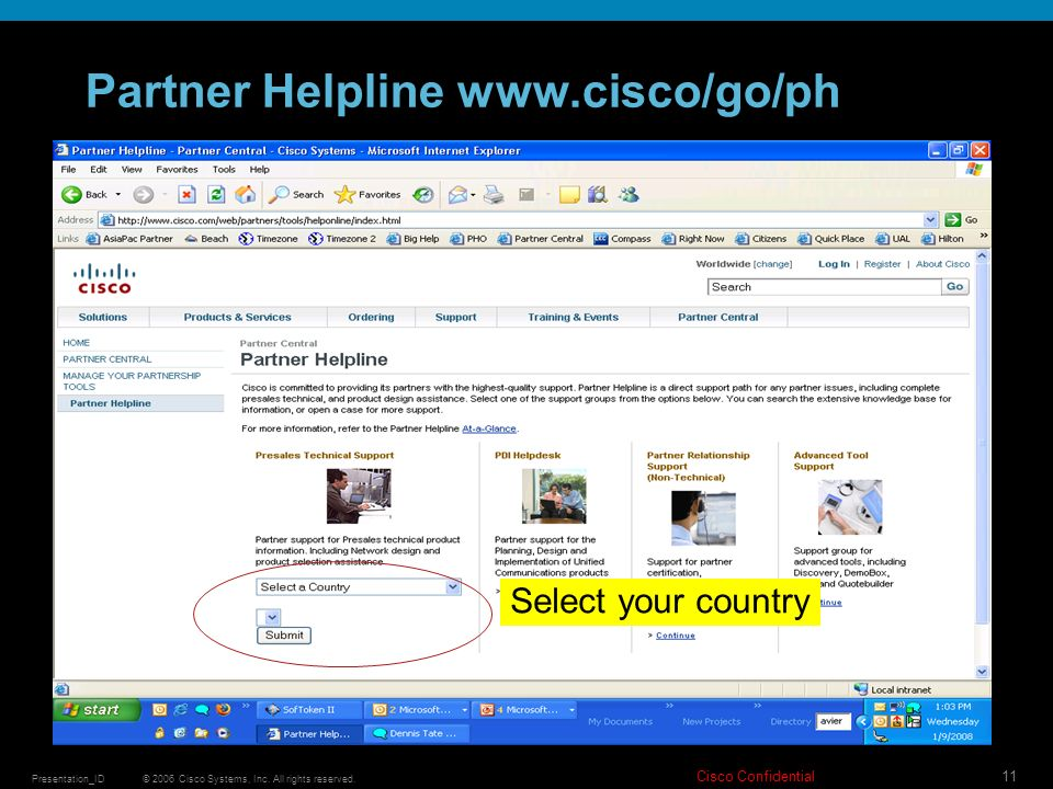 © 2006 Cisco Systems, Inc. All rights reserved. Cisco Confidential Presentation_ID 11 Partner Helpline www.cisco/go/ph Select your country