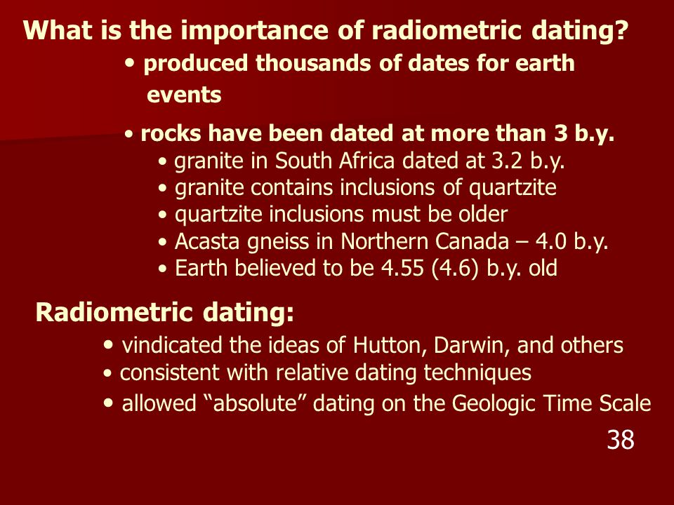 What is the importance of radiometric dating? produced thousands of dates for earth events rocks have been dated at more than 3 b.y. granite in South