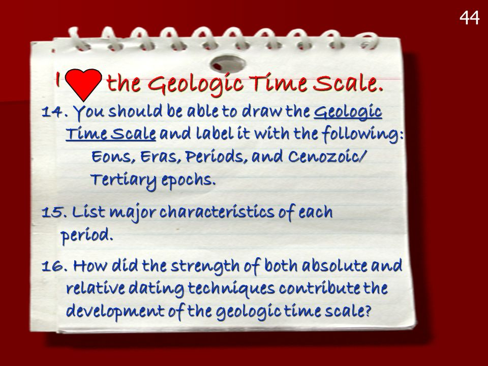 II the Geologic Time Scale. 14. You should be able to draw the Geologic Time Scale and label it with the following: Time Scale and label it with the f