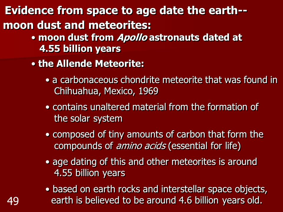 Evidence from space to age date the earth-- moon dust and meteorites: moon dust from Apollo astronauts dated at 4.55 billion years the Allende Meteori