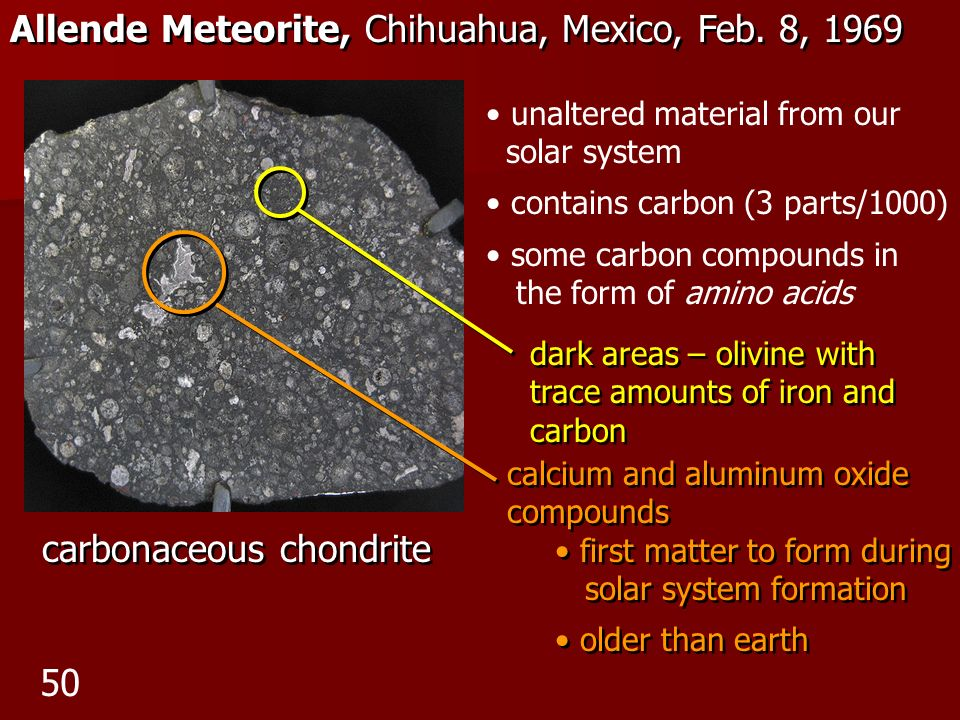 Allende Meteorite, Chihuahua, Mexico, Feb. 8, 1969 carbonaceous chondrite unaltered material from our solar system contains carbon (3 parts/1000) some
