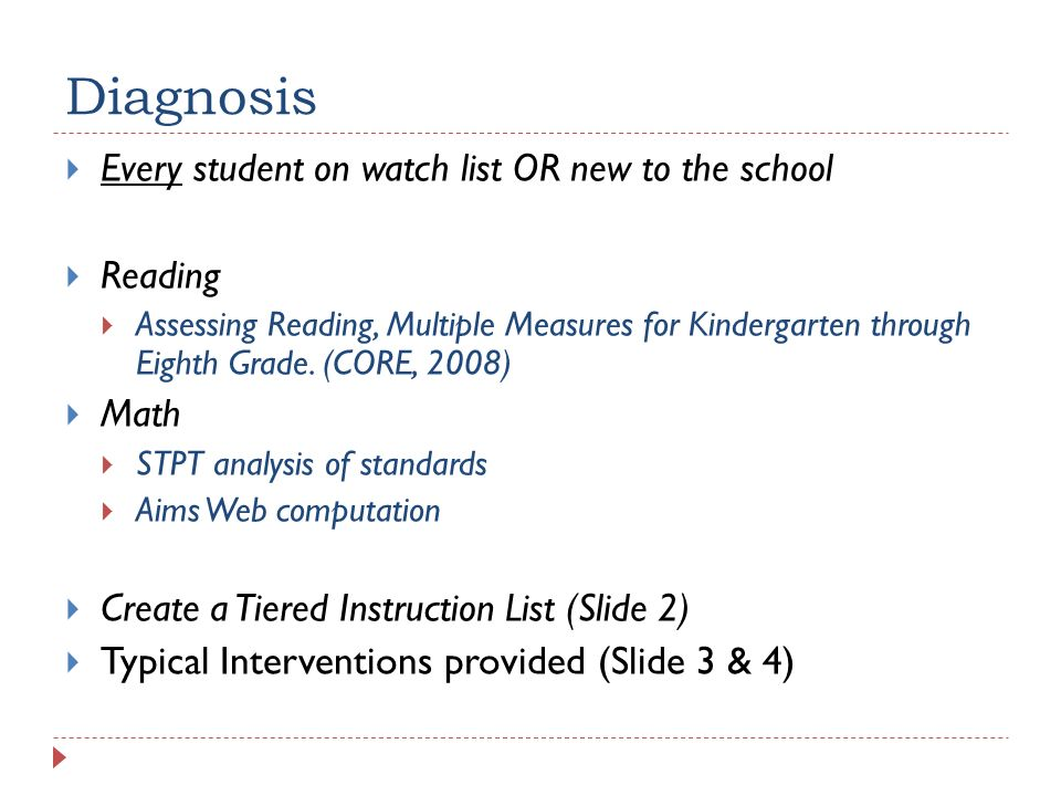 Diagnosis Every student on watch list OR new to the school Reading Assessing Reading, Multiple Measures for Kindergarten through Eighth Grade. (CORE,