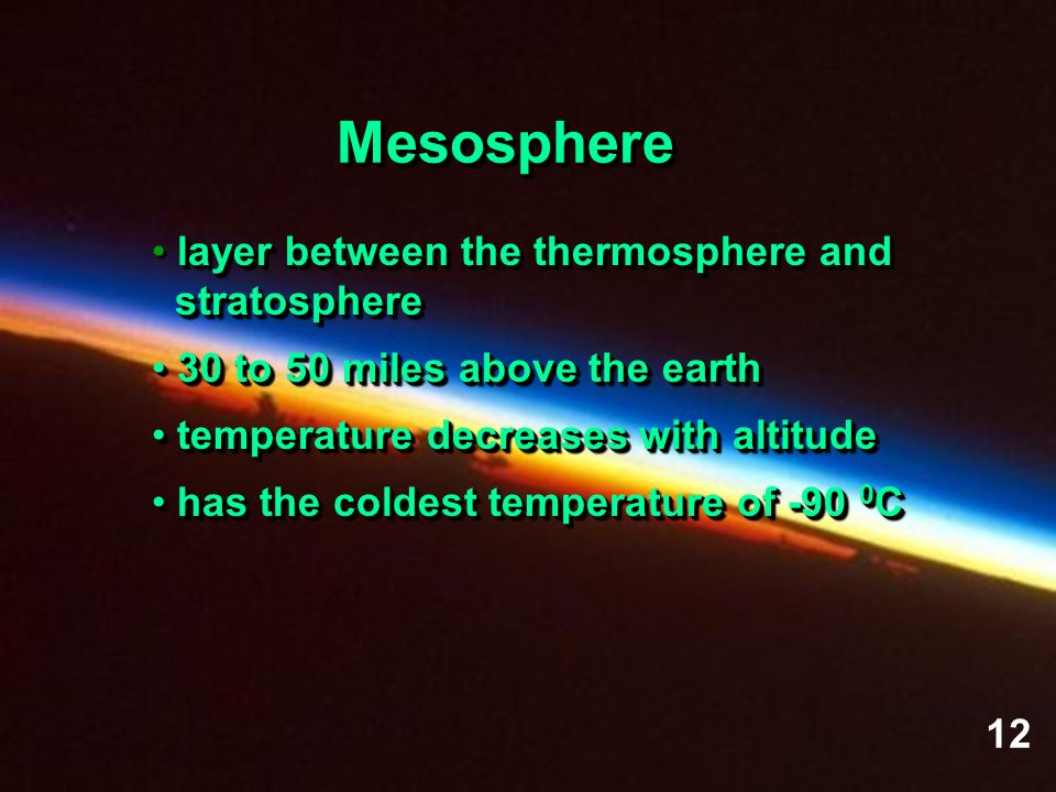 MesosphereMesosphere layer between the thermosphere and stratosphere stratosphere 30 to 50 miles above the earth 30 to 50 miles above the earth temper