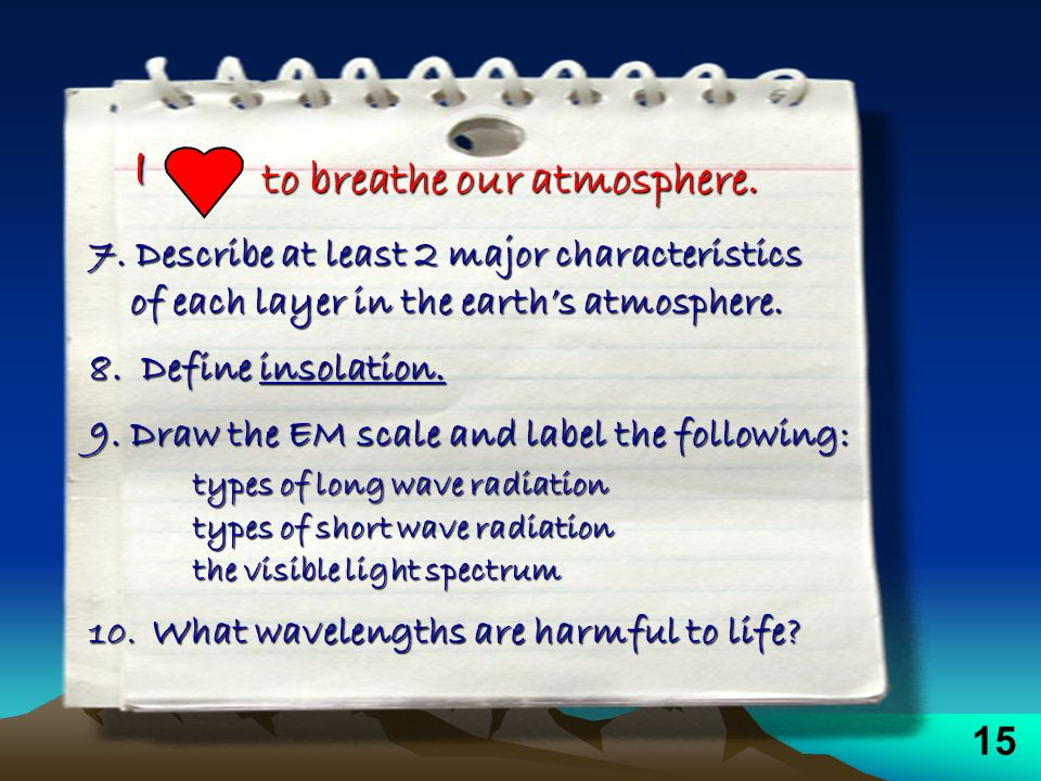 II to breathe our atmosphere. 7. Describe at least 2 major characteristics of each layer in the earths atmosphere. of each layer in the earths atmosph
