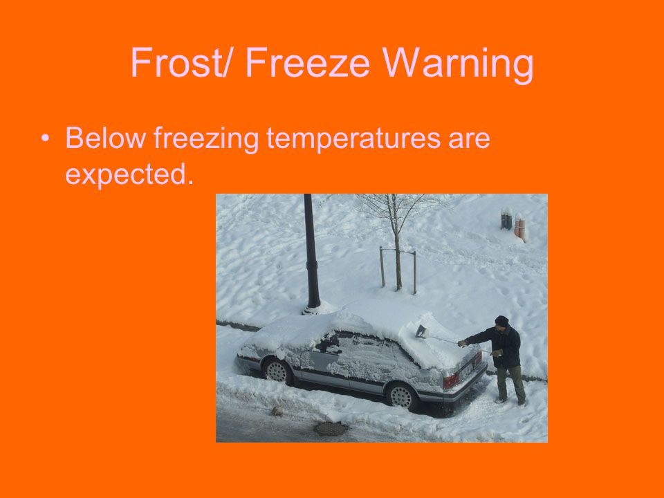 Frost/ Freeze Warning Below freezing temperatures are expected.