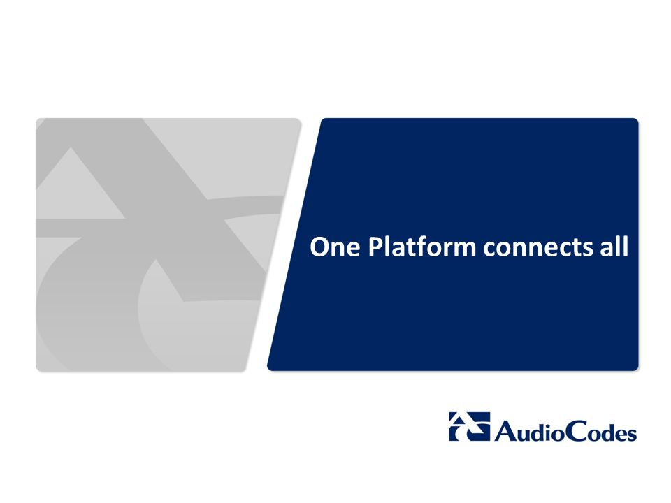 One Platform connects all