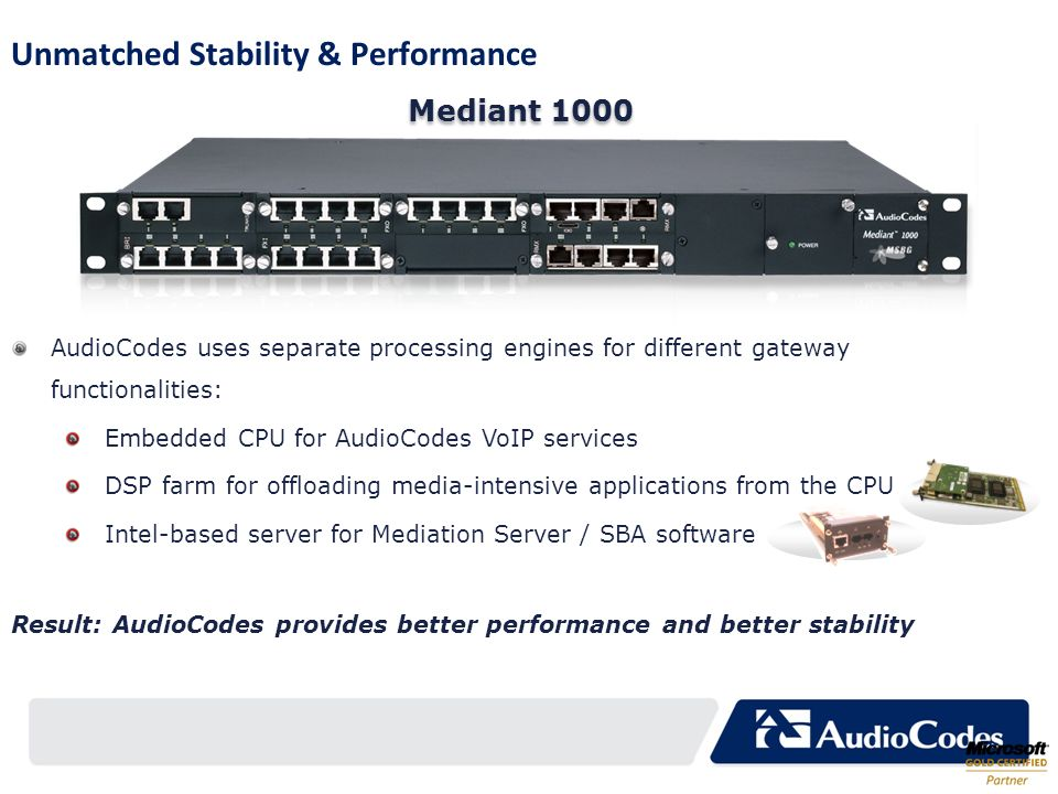 Unmatched Stability & Performance AudioCodes uses separate processing engines for different gateway functionalities: Embedded CPU for AudioCodes VoIP