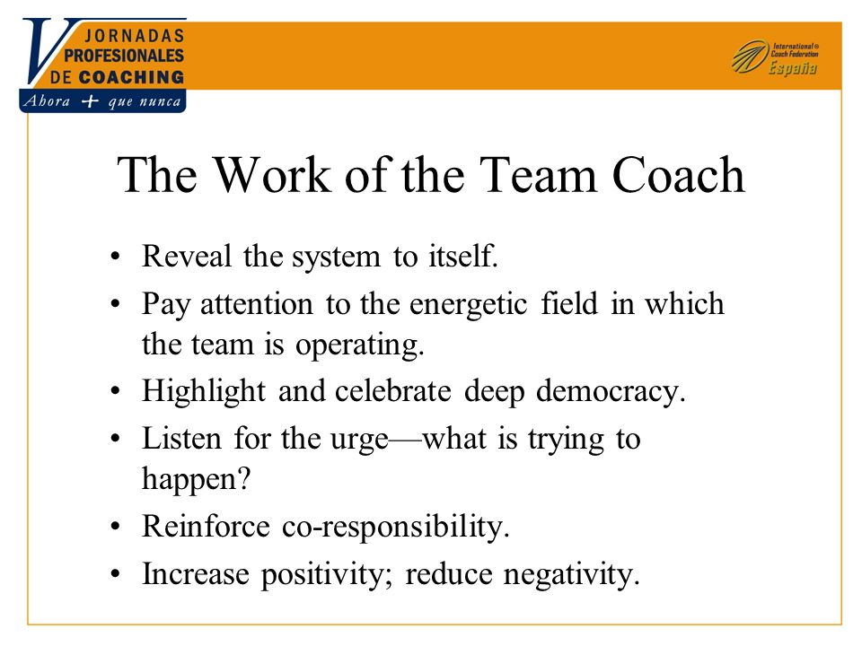 The Work of the Team Coach Reveal the system to itself. Pay attention to the energetic field in which the team is operating. Highlight and celebrate d
