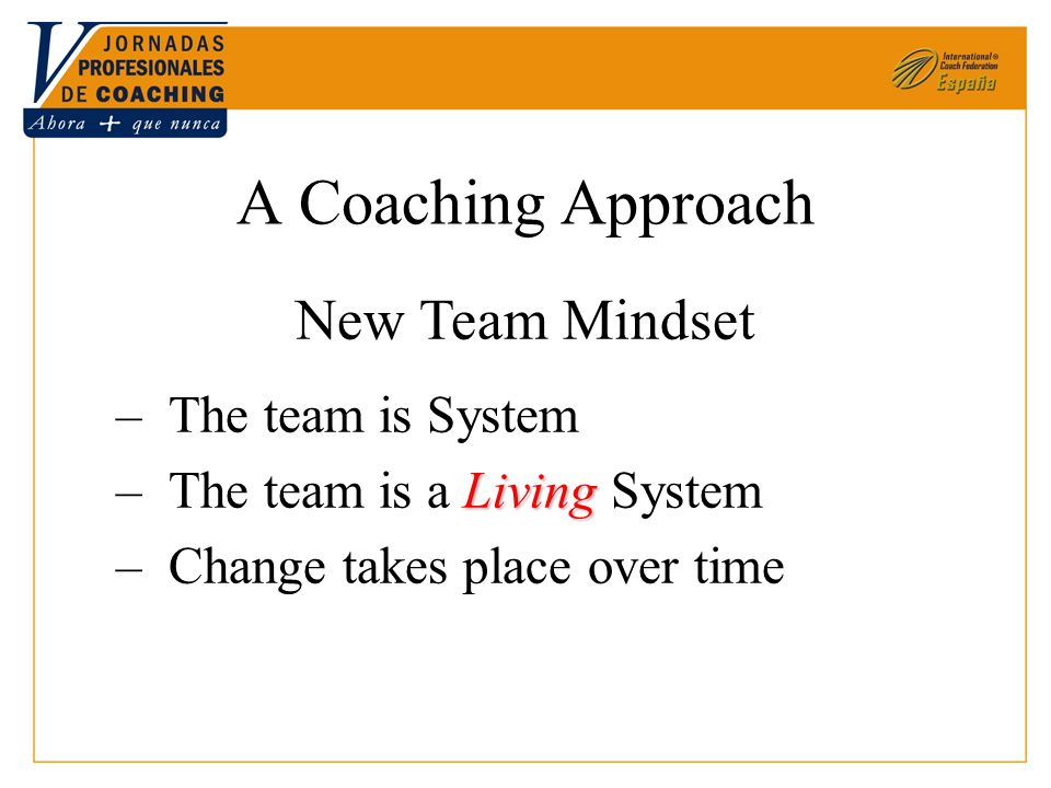 A Coaching Approach New Team Mindset –The team is System Living –The team is a Living System –Change takes place over time