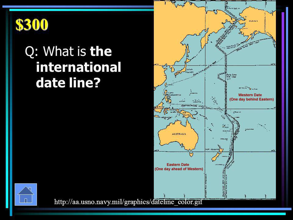 $300 Q: What is the international date line