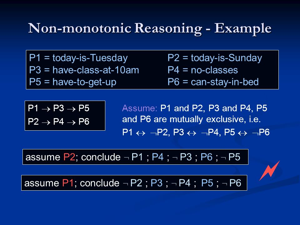 P1 P3 P5 P2 P4 P6 assume P2; conclude P1 ; P4 ; P3 ; P6 ; P5 assume P1; conclude P2 ; P3 ; P4 ; P5 ; P6 Non-monotonic Reasoning - Example P1 = today-i