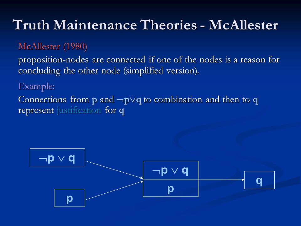 Truth Maintenance Theories - McAllester McAllester (1980) proposition-nodes are connected if one of the nodes is a reason for concluding the other nod
