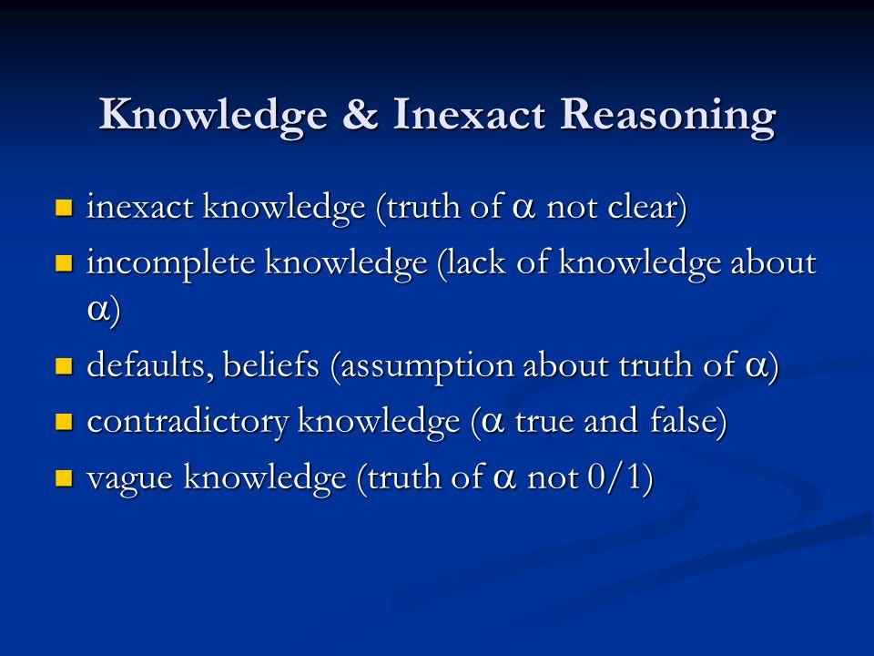 Knowledge & Inexact Reasoning inexact knowledge (truth of not clear) inexact knowledge (truth of not clear) incomplete knowledge (lack of knowledge ab