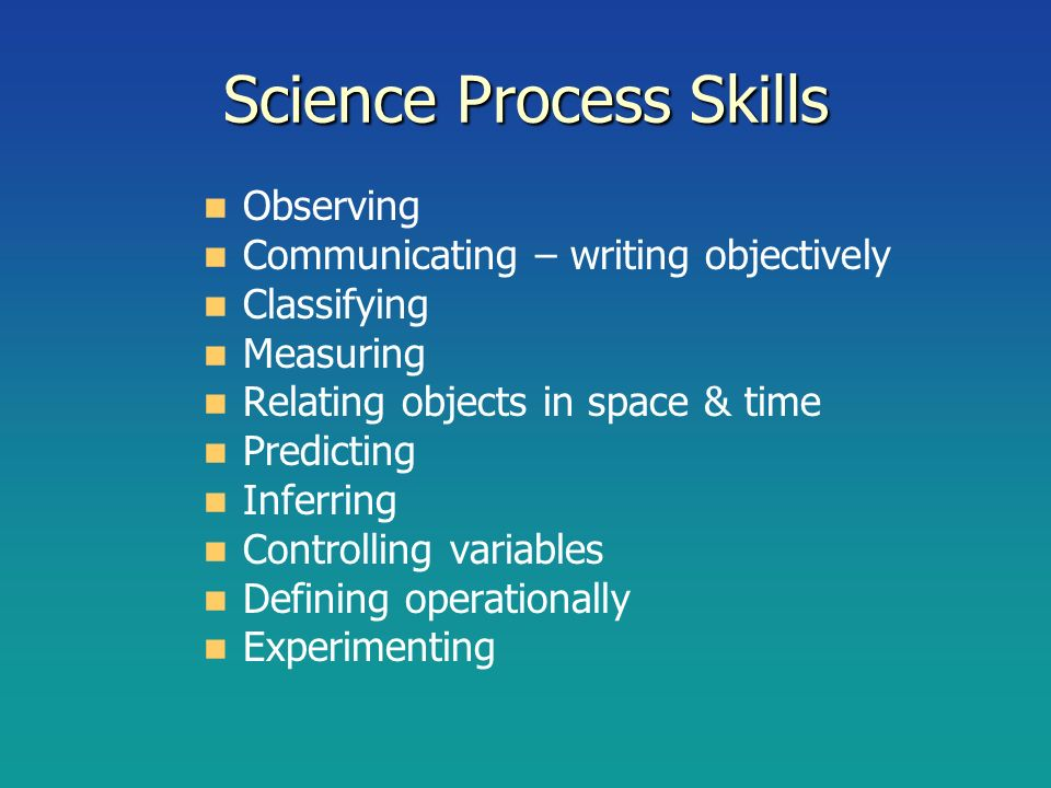 Science Process Skills Observing Communicating – writing objectively Classifying Measuring Relating objects in space & time Predicting Inferring Contr