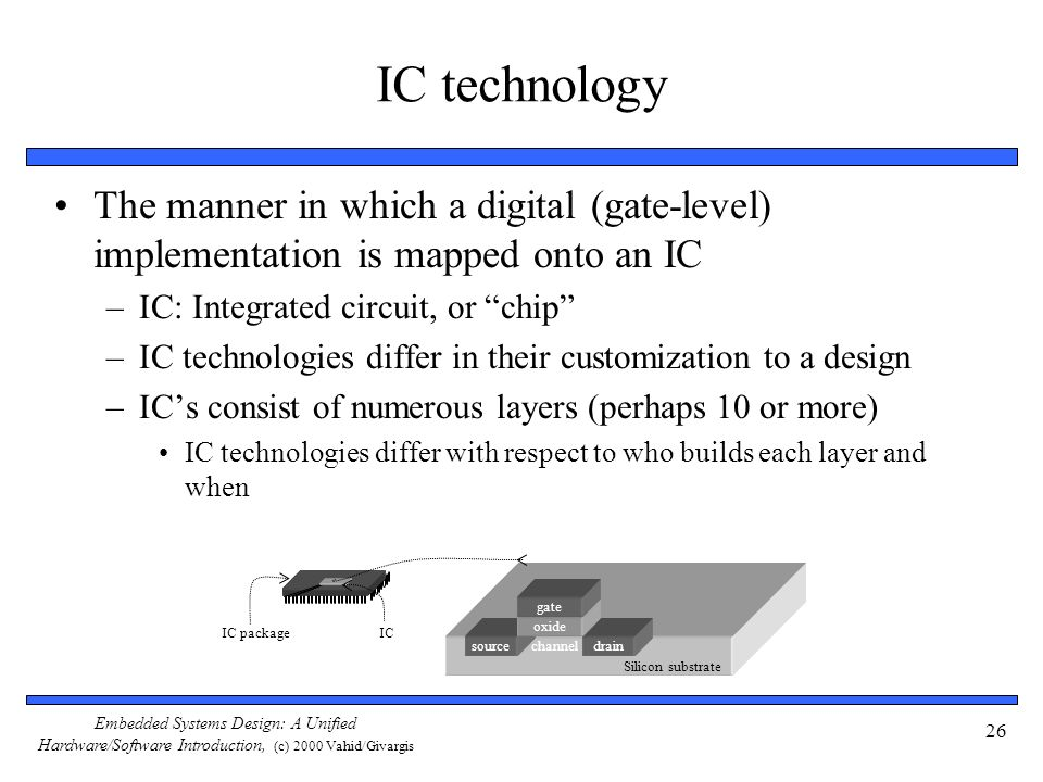 Embedded Systems Design: A Unified Hardware/Software Introduction, (c) 2000 Vahid/Givargis 26 IC technology The manner in which a digital (gate-level)