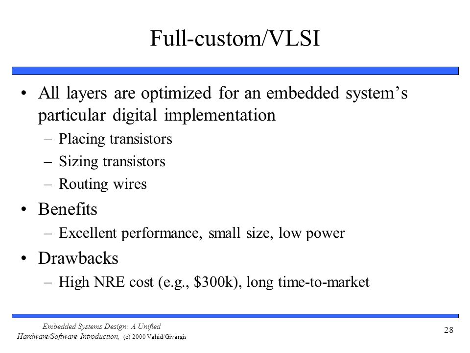 Embedded Systems Design: A Unified Hardware/Software Introduction, (c) 2000 Vahid/Givargis 28 Full-custom/VLSI All layers are optimized for an embedde