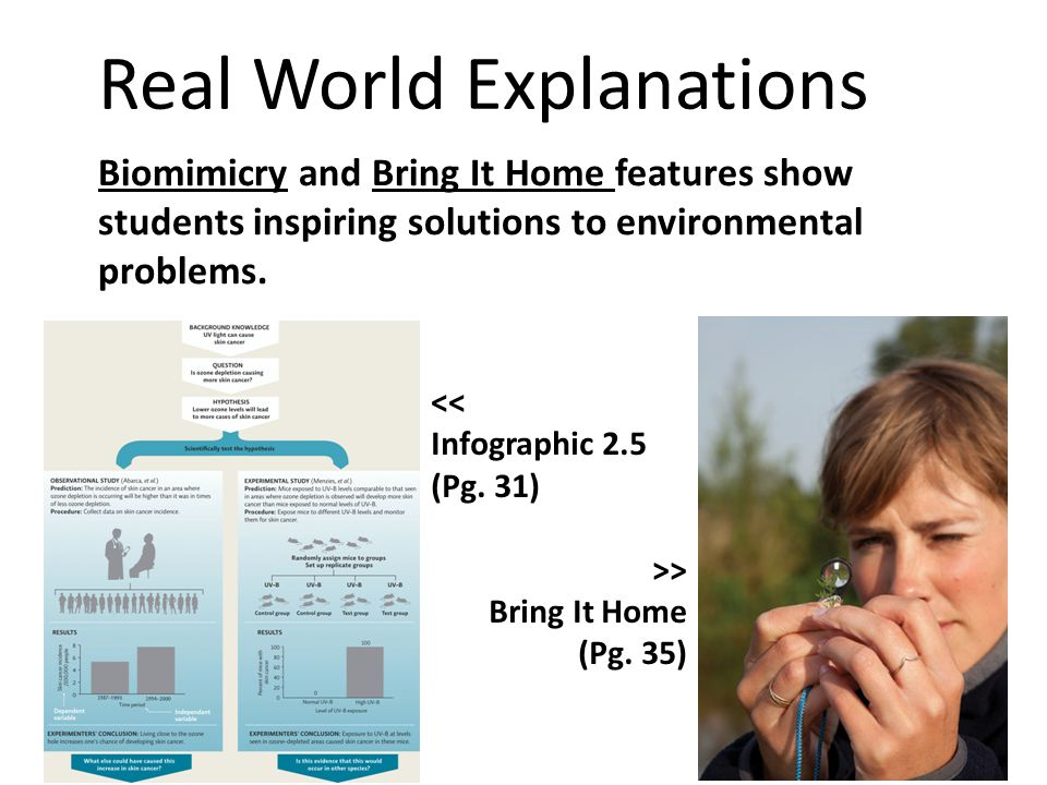 Real World Explanations Biomimicry and Bring It Home features show students inspiring solutions to environmental problems. << Infographic 2.5 (Pg. 31)