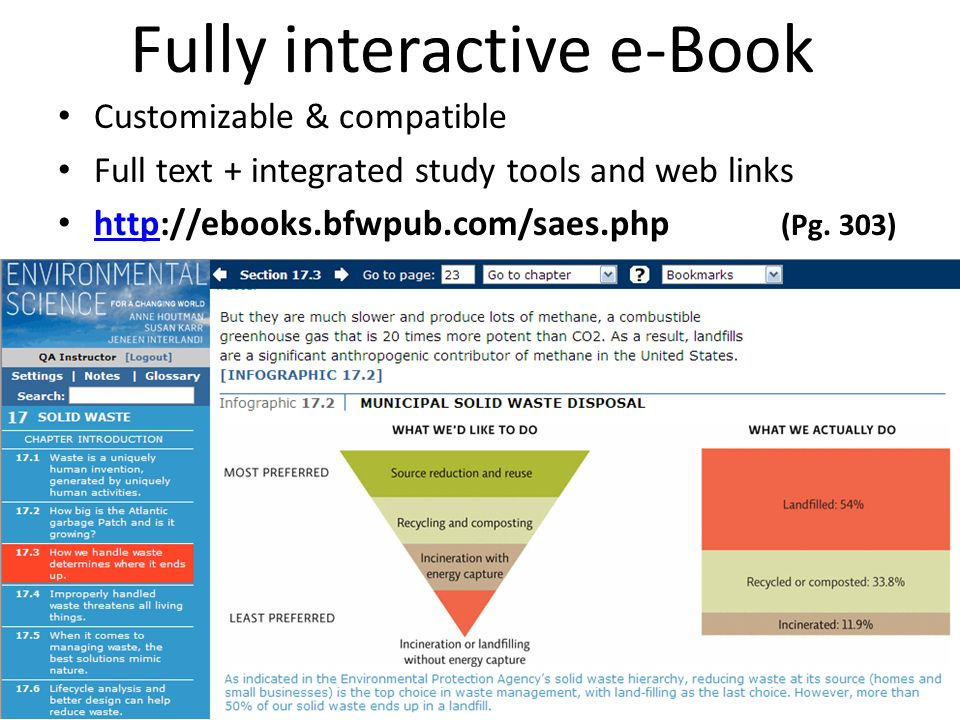 Fully interactive e-Book Customizable & compatible Full text + integrated study tools and web links http://ebooks.bfwpub.com/saes.php (Pg. 303) http
