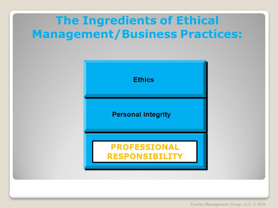 The Ingredients of Ethical Management/Business Practices: Esmieu Management Group, LLC.