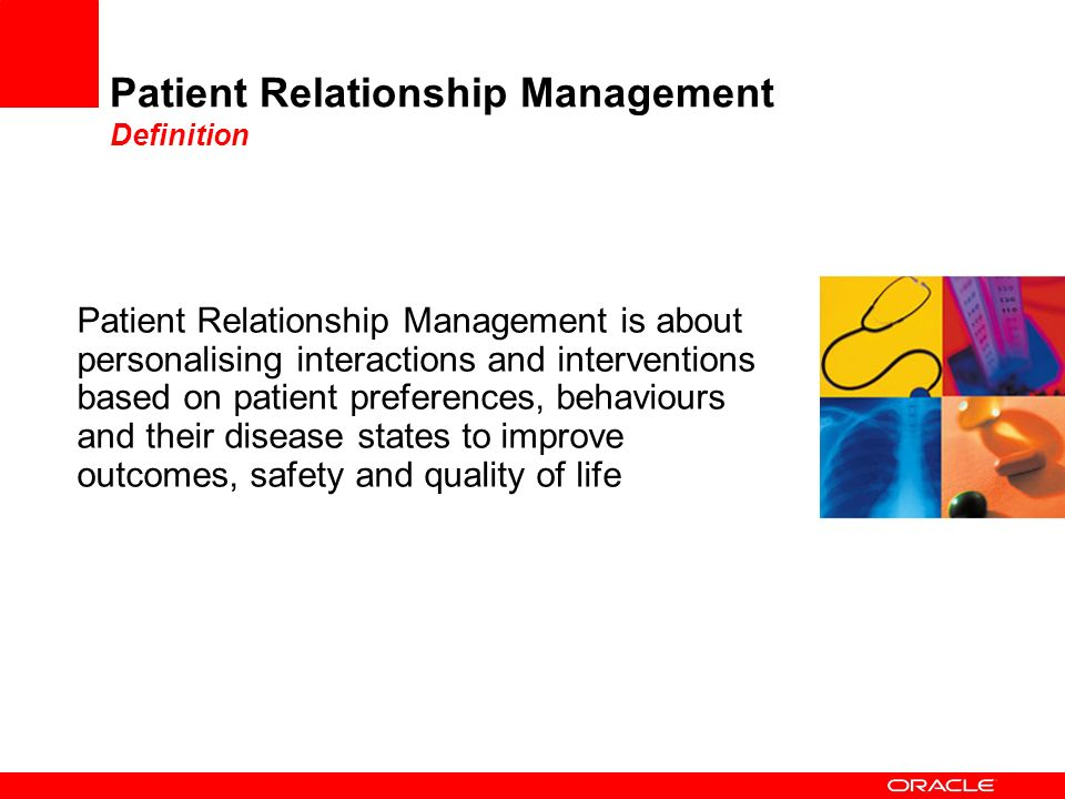 Patient Relationship Management Definition Patient Relationship Management is about personalising interactions and interventions based on patient pref