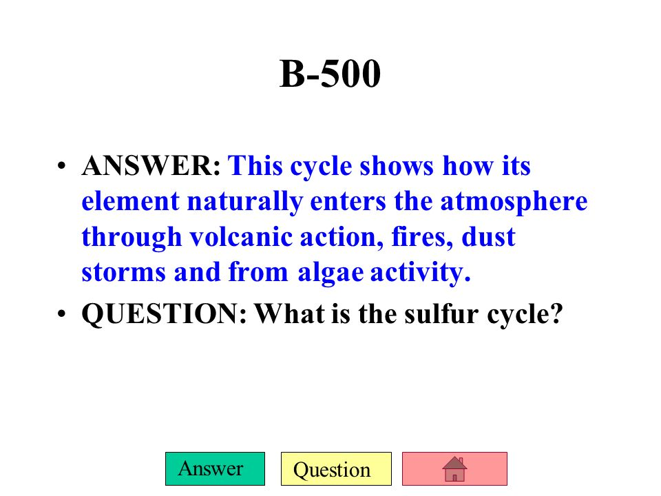 Question Answer B-400 ANSWER: This cycle shows how its element moves through plants, soil, water and rocks, but not through the atmosphere. QUESTION: