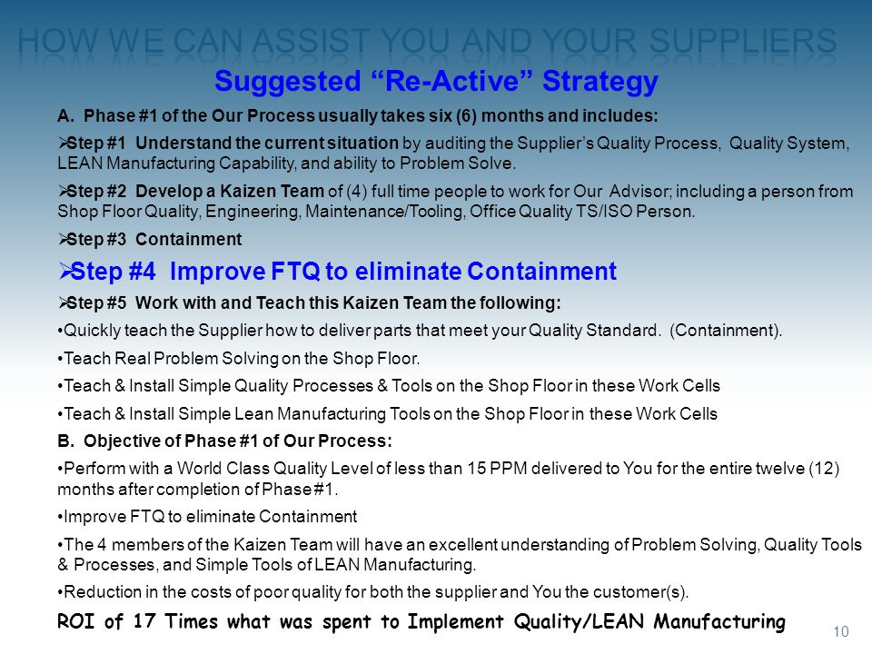 10 Suggested Re-Active Strategy A. Phase #1 of the Our Process usually takes six (6) months and includes: Step #1 Understand the current situation by
