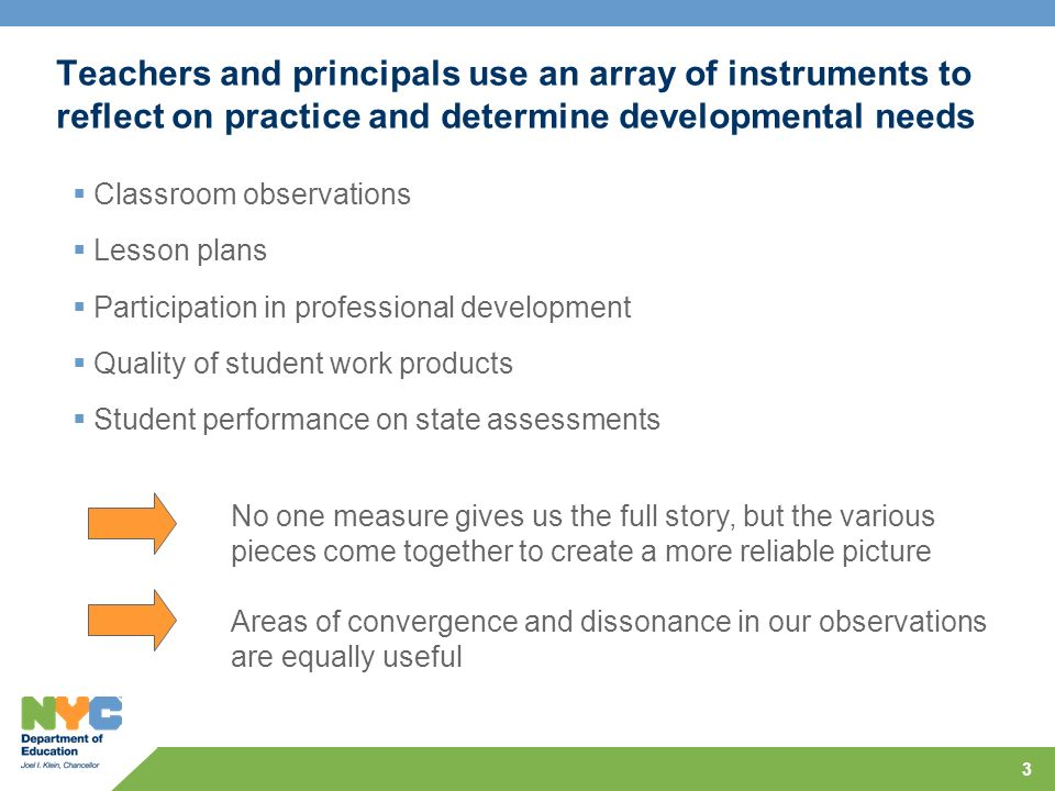 3 Teachers and principals use an array of instruments to reflect on practice and determine developmental needs Classroom observations Lesson plans Participation in professional development Quality of student work products Student performance on state assessments No one measure gives us the full story, but the various pieces come together to create a more reliable picture Areas of convergence and dissonance in our observations are equally useful
