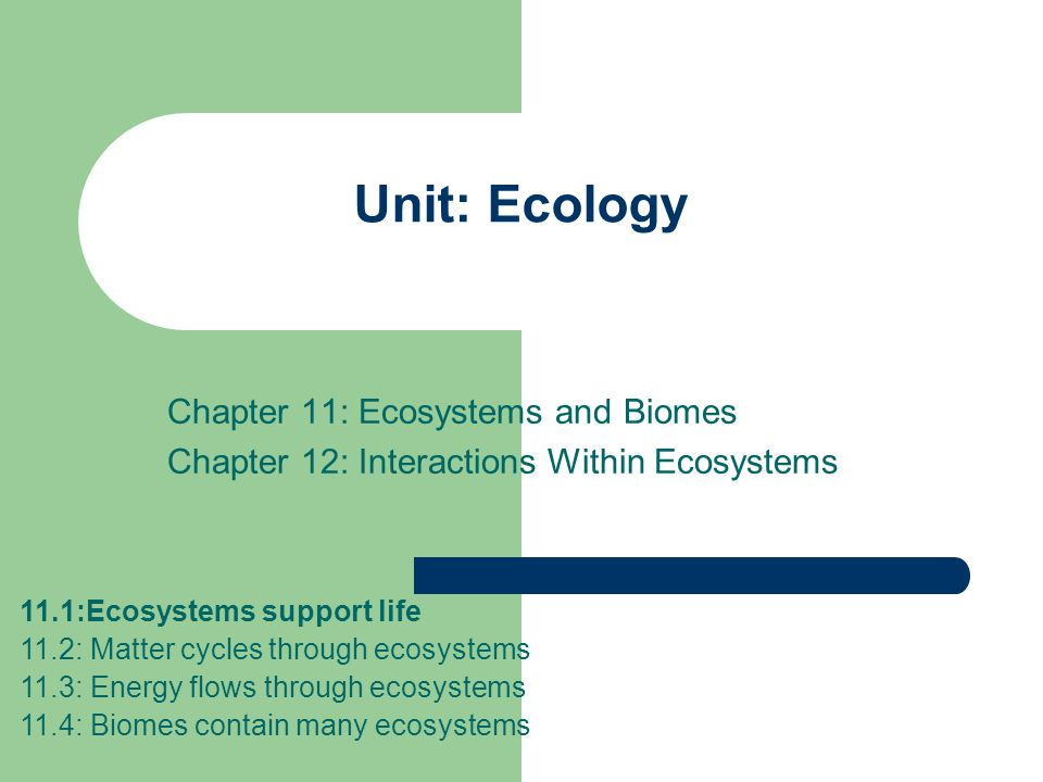 Unit: Ecology Chapter 11: Ecosystems and Biomes Chapter 12: Interactions Within Ecosystems 11.1:Ecosystems support life 11.2: Matter cycles through ec